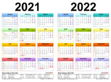 Two Year Calendars For 2021 2022 UK For Word