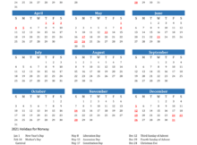 2021 Calendar Norway With Holidays