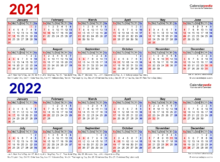 2021 2022 Two Year Calendar Free Printable Excel Templates