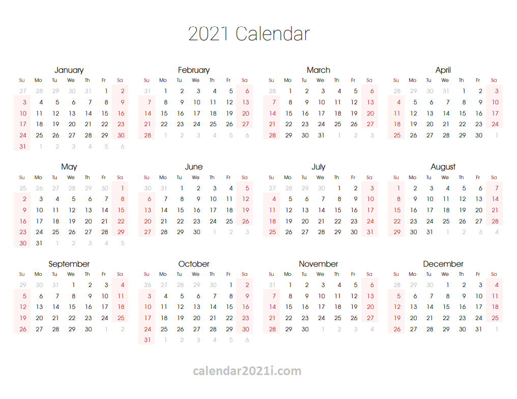 2021 Editable Yearly Calendar Templates In MS Word Excel