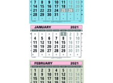 At A Glance Large Wall Calendar 3 Month View 2021 TML21