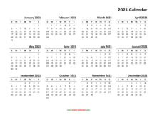 Yearly Calendar 2021 Free Download And Print
