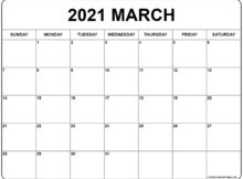 March 2021 Calendar Free Printable Monthly Calendars