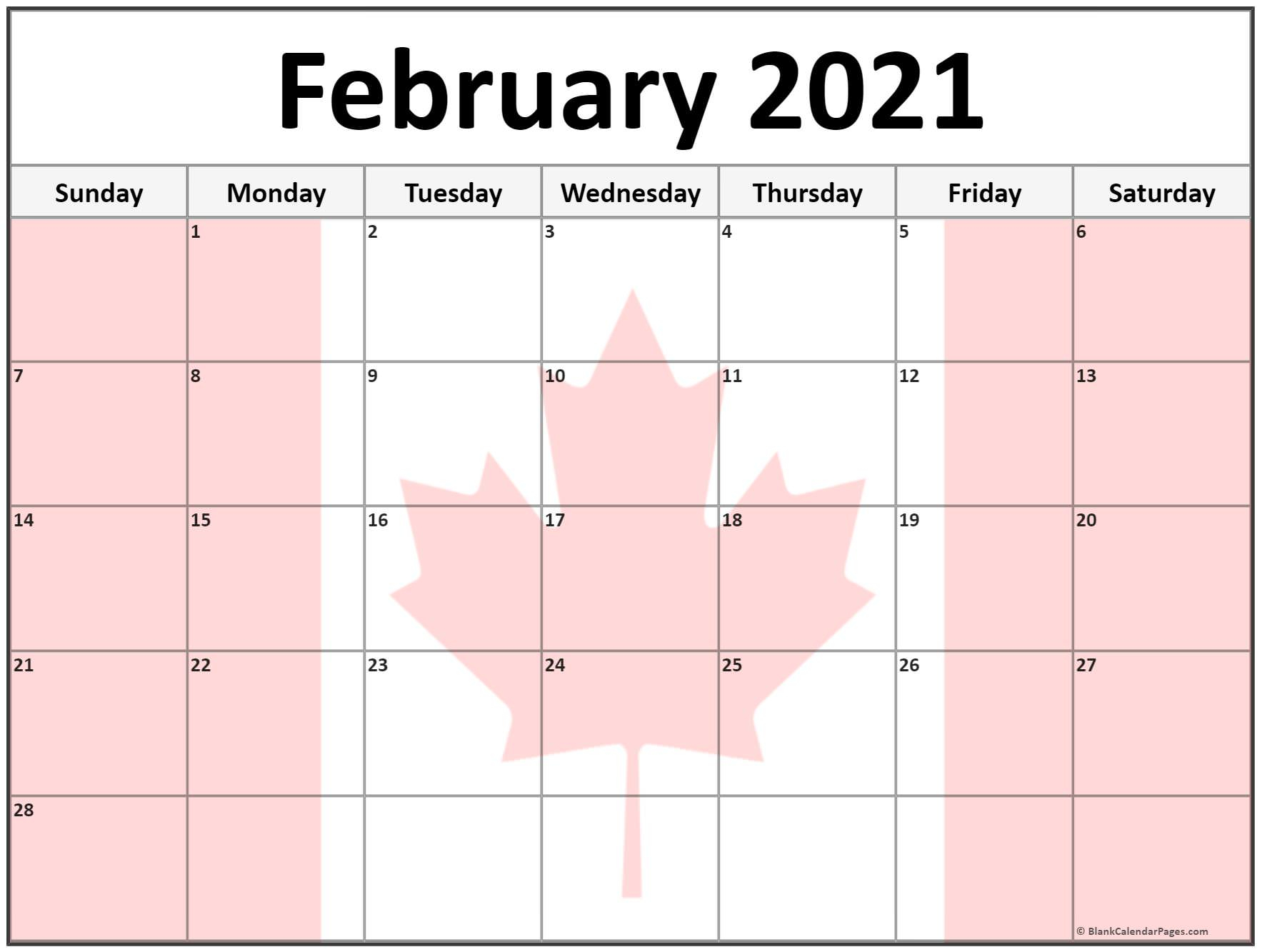 Collection Of February 2021 Photo Calendars With Image