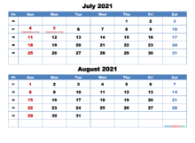 Printable Calendar July And August 2021 Word PDF Free