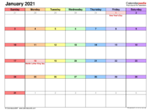 January 2021 Calendar Templates For Word Excel And PDF