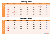 Calendar For January And February 2021 Word PDF Free
