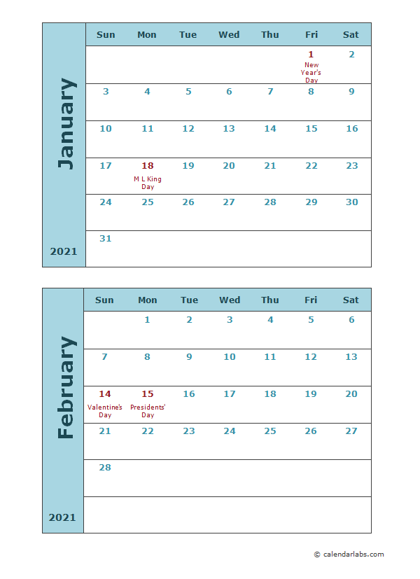 2021 Calendar Template Two Months Per Page Free