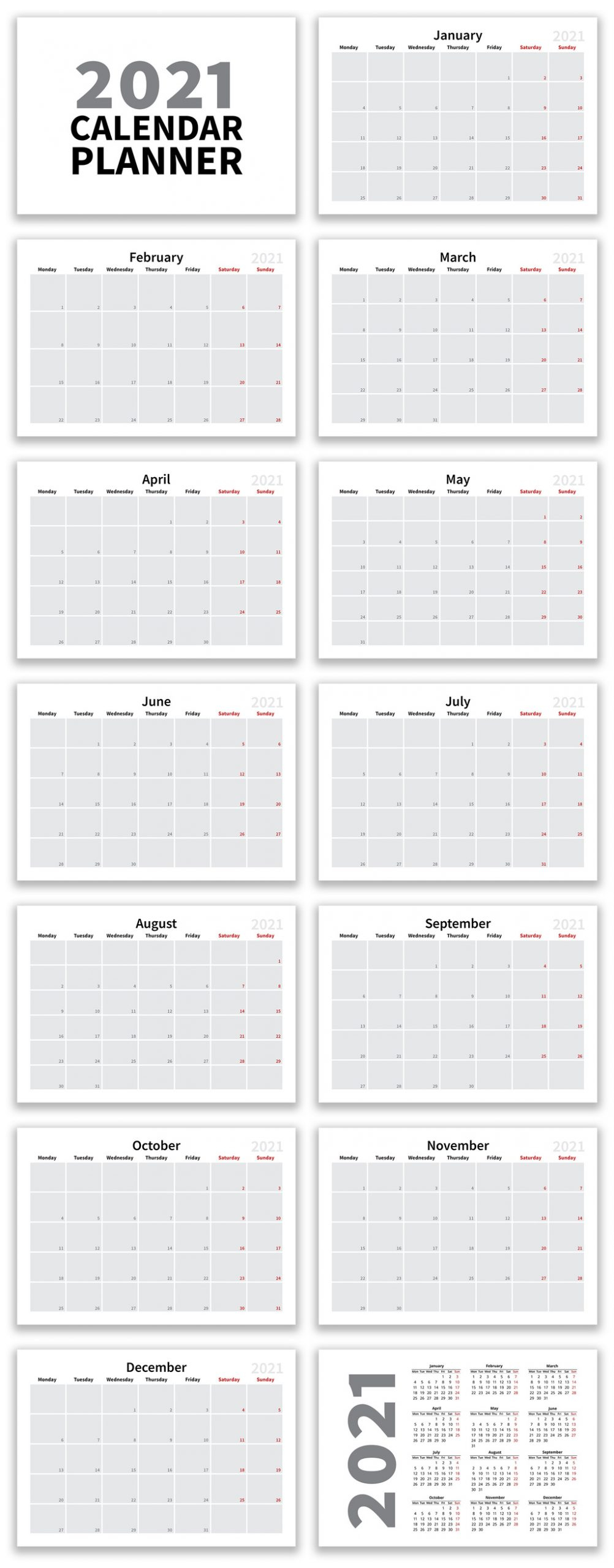 Calendar 2021 Template Collection Update V2 More Packs