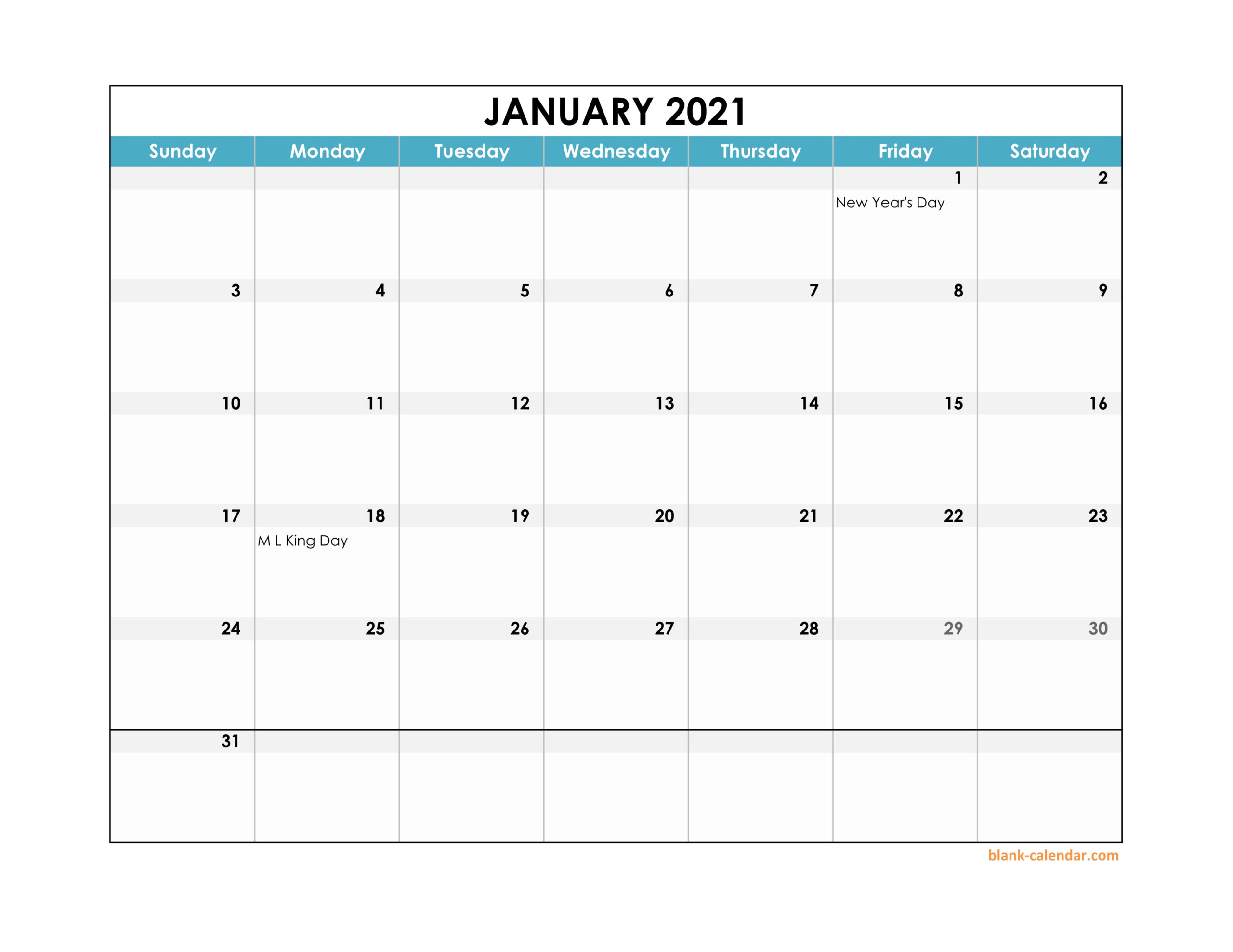 Monthly Calendar 2021 Excel Printable March