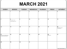 Collection Of March 2021 Calendars With Holidays