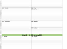 Free Weekly Calendar Excel Template For 2021