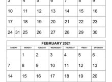 Free 2020 Printable Calendars 2 Months Per Page Example