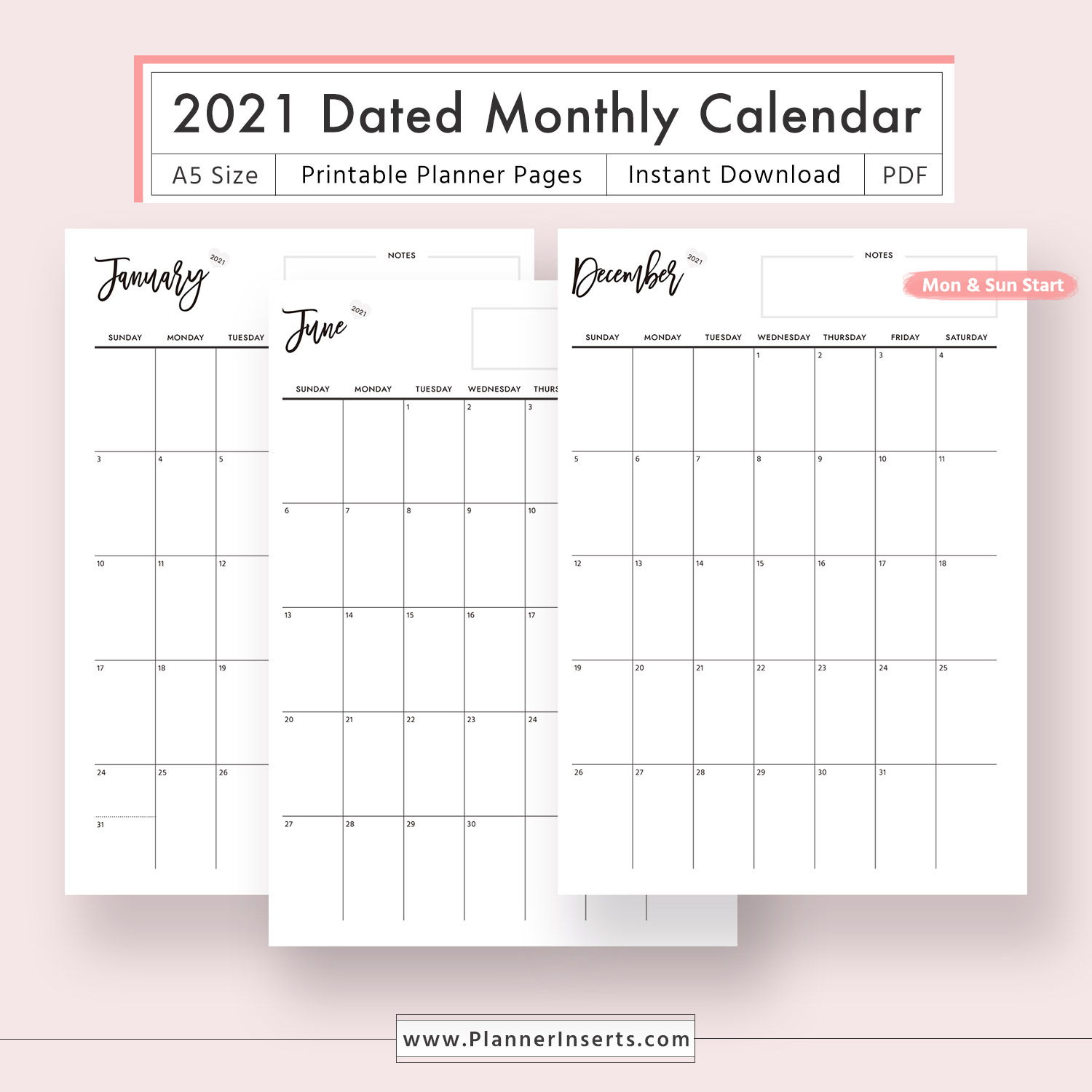 2021 Dated Monthly Calendar For Unlimited Instant Download