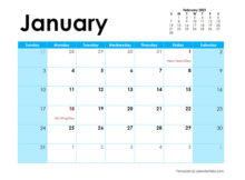 2021 Word Calendar Template Large Boxes Free Printable