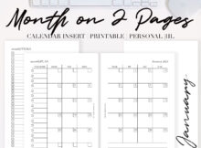 2021 Month On Two Pages Calendar Printable PDF The