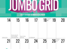 Jumbo Grid Large Print 2021 12 X 12 Inch Monthly Square