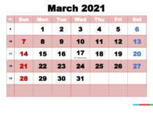 March 2021 Printable Monthly Calendar With Holidays Free
