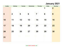 Monthly Calendar 2021 Free Download Editable And Printable