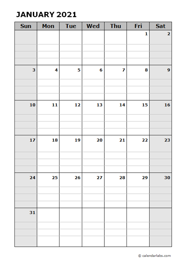 2021 Blank Daily Planner Free Printable Templates